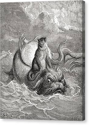 The Monkey And The Dolphin After A Work Canvas Print by Vintage Design Pics
