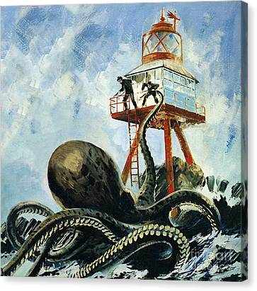 Squid Canvas Print - The Monster Of Serrana Cay by Graham Coton