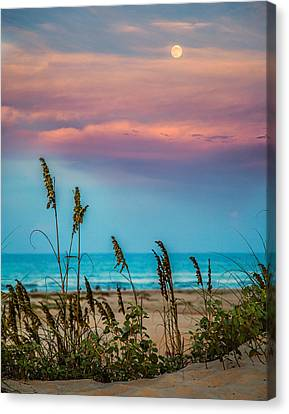 The Moon And The Sunset At South Padre Island 11 By 14 Crop Canvas Print by Micah Goff