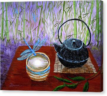 The Moon In A Teacup Canvas Print by Laura Iverson