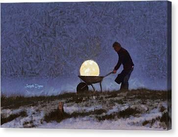 Green Light Canvas Print - The Moon Keeper - 1 Of 7 - Da by Leonardo Digenio