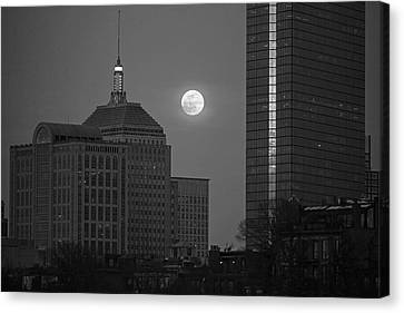 The Moon Rising Over Boston Black And White Canvas Print by Toby McGuire
