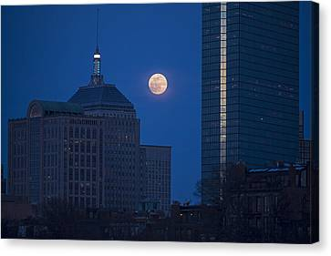 The Moon Rising Over Boston Canvas Print by Toby McGuire