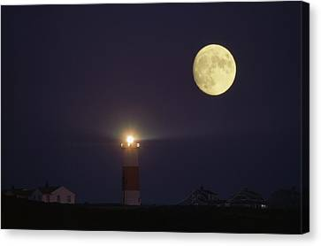 The Moon Shines Above The Sankaty Head Canvas Print by James L. Stanfield