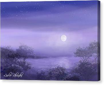 The Moon Will Set Canvas Print by Leslie Rhoades