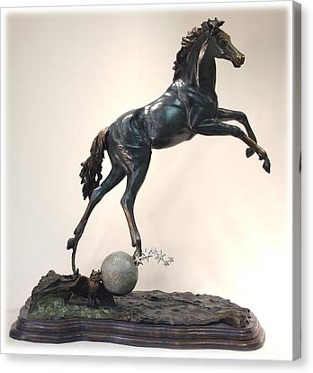Canvas Print featuring the sculpture The Moonhorse Bronze by Dawn Senior-Trask