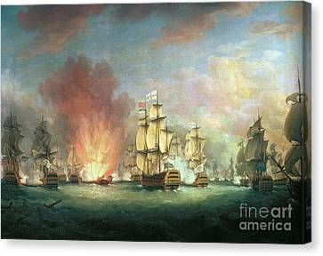 Explosion Canvas Print - The Moonlight Battle by Richard Paton