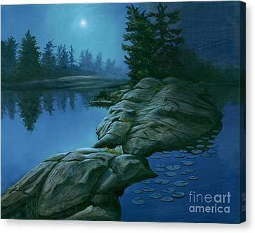 Canvas Print featuring the painting The Moonlight Hour by Michael Swanson