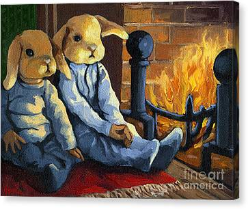 The Mopsy Twins  Canvas Print by Linda Apple