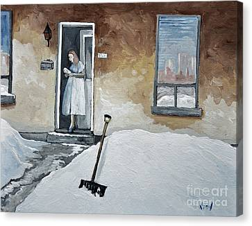 Montreal Winter Scenes Canvas Print - The Morning Paper by Reb Frost
