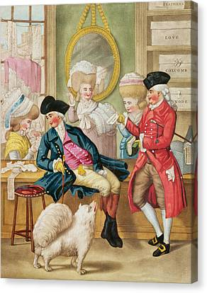 The Morning Ramble Or The Milliners Shop Canvas Print by Robert Dighton