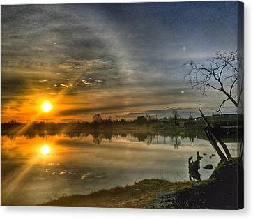 Canvas Print featuring the photograph The Morning Sun Dog by Sumoflam Photography