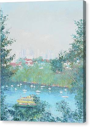 Impressionist Landscape Canvas Print - The Mosman Bay Ferry And Sydney Skyline by Jan Matson