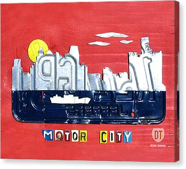The Motor City - Detroit Michigan Skyline License Plate Art By Design Turnpike Canvas Print by Design Turnpike