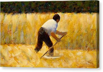 The Mower Canvas Print by Georges Pierre Seurat