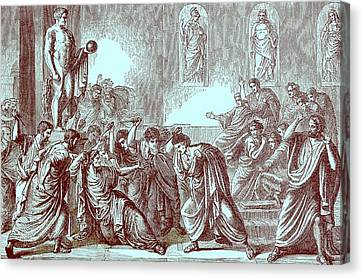 The Murder Of Julius Caesar Canvas Print by English School