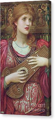 The Music Faintly Falling Dies Away Canvas Print by John Melhuish Strudwick