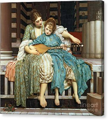 Setting Canvas Print - The Music Lesson by Frederic Leighton