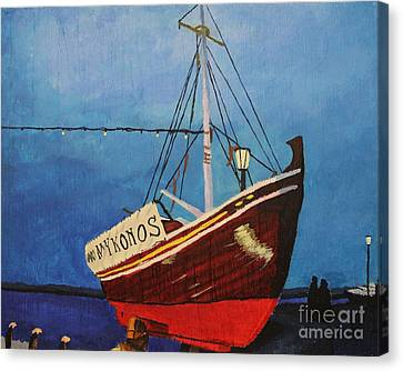 The Mykonos Boat Canvas Print