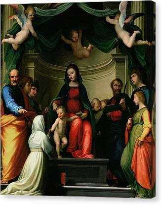 Saint Dominic Canvas Print - The Mystic Marriage Of St Catherine Of Siena With Saints by Fra Bartolommeo - Baccio della Porta