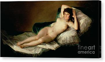 Woman Nude Canvas Print - The Naked Maja by Goya