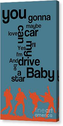 The Name Of The Song. Beatles Lyrics. Drive My Car. Canvas Print by Pablo Franchi