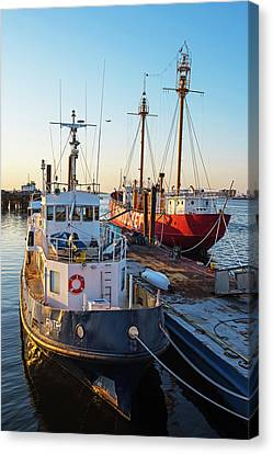 The Nantucket East Boston Harbor At Sunrise Morning Light Canvas Print by Toby McGuire