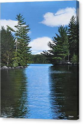 The Narrows Of Muskoka Canvas Print by Kenneth M  Kirsch