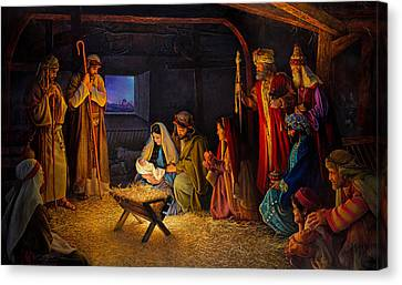 The Nativity Canvas Print by Greg Olsen