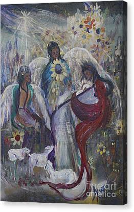 The Nativity Of The Angels Canvas Print by Avonelle Kelsey