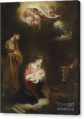 The Nativity With The Annunciation To The Shepherds Beyond Canvas Print