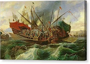 Pirate Ships Canvas Print - The Naval Battle Of Lepanto by Antonio de Brugada