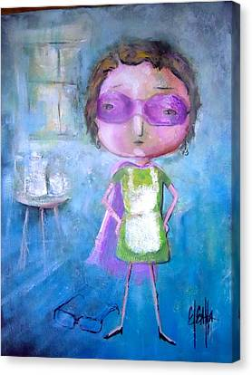 Canvas Print featuring the painting The Nerearsighted Super Mom by Eleatta Diver