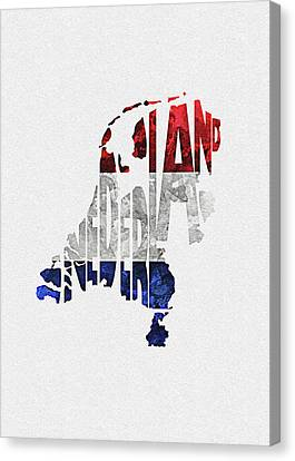 Dirty Canvas Print - The Netherlands Typographic Map Flag by Inspirowl Design
