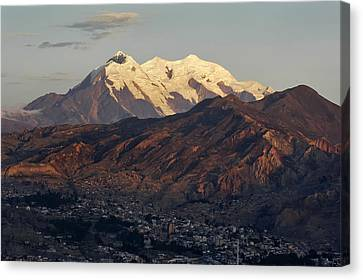 The Nevado Illimani And The South City Of La Paz. Republic Of Bolivia. Canvas Print by Eric Bauer