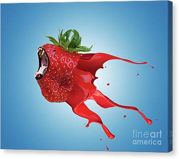 Canvas Print featuring the photograph The New Gmo Strawberry by Juli Scalzi