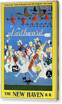 Bird People Canvas Print - The New Haven Rail Road - Vintage Illustrated Poster - People Travelling Northward - Migrating Birds by Studio Grafiikka