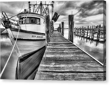 Canvas Print featuring the photograph The New Horizon Shrimp Boat Bw by JC Findley