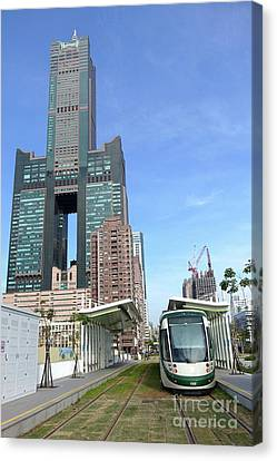 Canvas Print featuring the photograph The New Kaohsiung Light Rail Train by Yali Shi