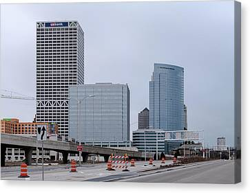 Canvas Print featuring the photograph The New Milwaukee Skyline by Randy Scherkenbach