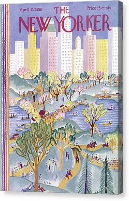 The New Yorker Cover - April 21st, 1928 Canvas Print by Conde Nast