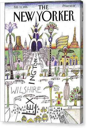 The New Yorker Cover - February 13th, 1995 Canvas Print by Saul Steinberg