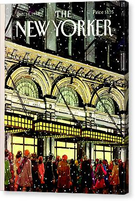 The New Yorker Cover - January 18th, 1988 Canvas Print by Roxie Munro