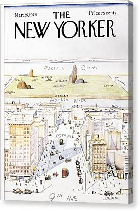 View From 9th Avenue Canvas Print by Saul Steinberg