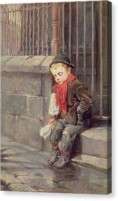 The News Boy Canvas Print by Ralph Hedley
