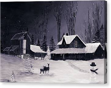 The Night Before Christmas Silvertoned Canvas Print