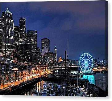 The Night Before Super Bowl Xlix, 2014, Seattle Waterfront Canvas Print by Greg Sigrist