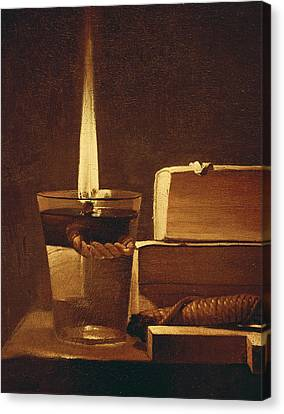 The Night Light Canvas Print by Georges de la Tour