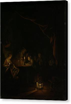 The Night School Canvas Print by Gerard Dou
