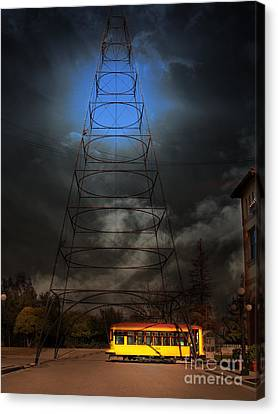 The Night The Old San Jose Railroads Cablecar Trolley 143 Reappeared . 7d12959 Canvas Print by Wingsdomain Art and Photography